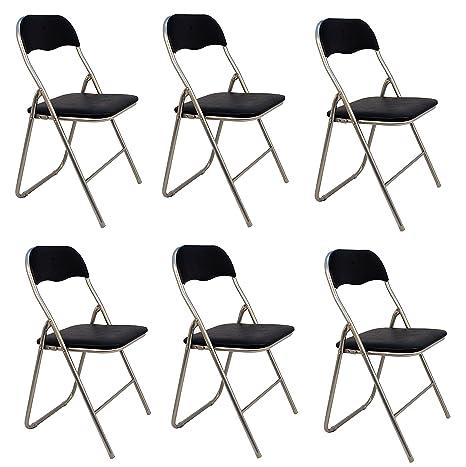 La Silla Española - Pack 6 Sillas plegables de aluminio con asiento y respaldo acolchados en PVC, modelo Sevilla, Color negro, 78x43,5x46 cm