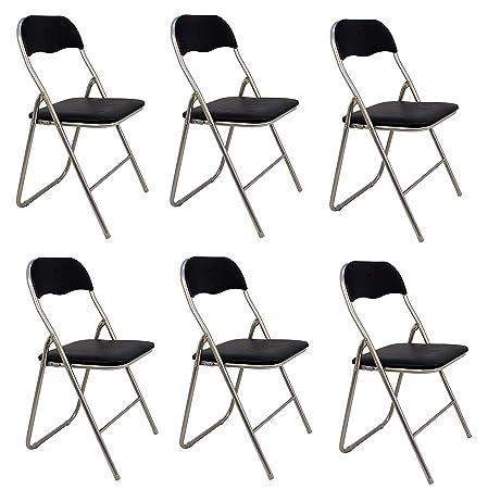 Pack 6 Sillas plegables de aluminio con asiento y respaldo acolchados en PVC.