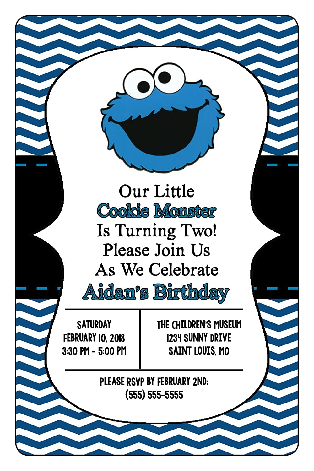 Amazon.com: Customized - Cookie Monster - Birthday Invitation: Toys ...