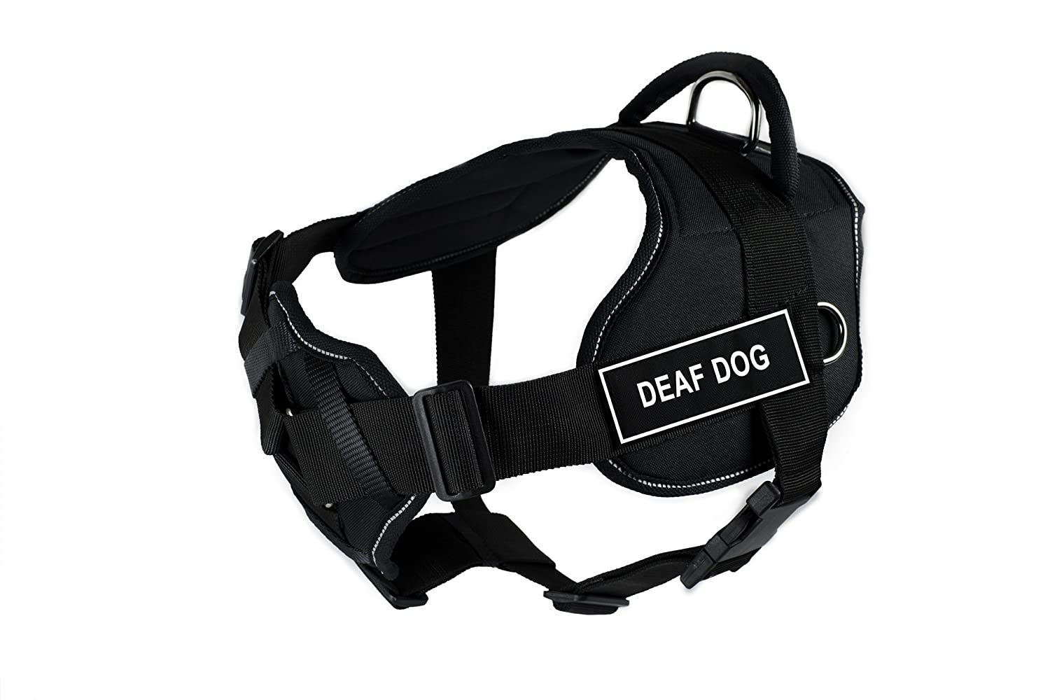 Dean & Tyler Fun Harness with Padded Chest Piece, Deaf Dog, Medium, Black with Reflective Trim