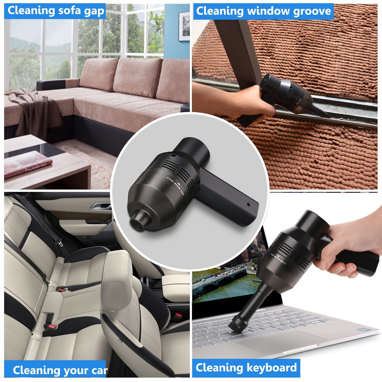 Keyboard Cleaner, USB Rechargeable Mini Vacuum Air Duster with Cleaning Gel, Portable Keyboard Vacuum Cleaner for Cleaning Dust, PC, Hairs, Crumbs, Laptop, Scrap, Piano, Computer, Car and Pet House by Aliengt (Image #2)
