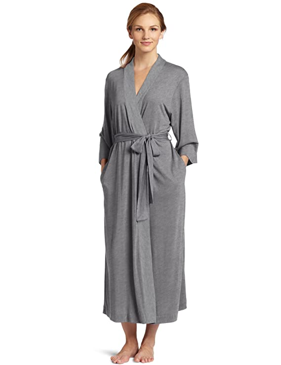 Natori Women's Shangri-la Solid Knit Robe, Heather Grey, X-Small best women's bath robe