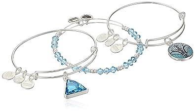 Amazoncom Alex And Ani Womens Blue Lotus Set Of 3 Bangle Bracelet