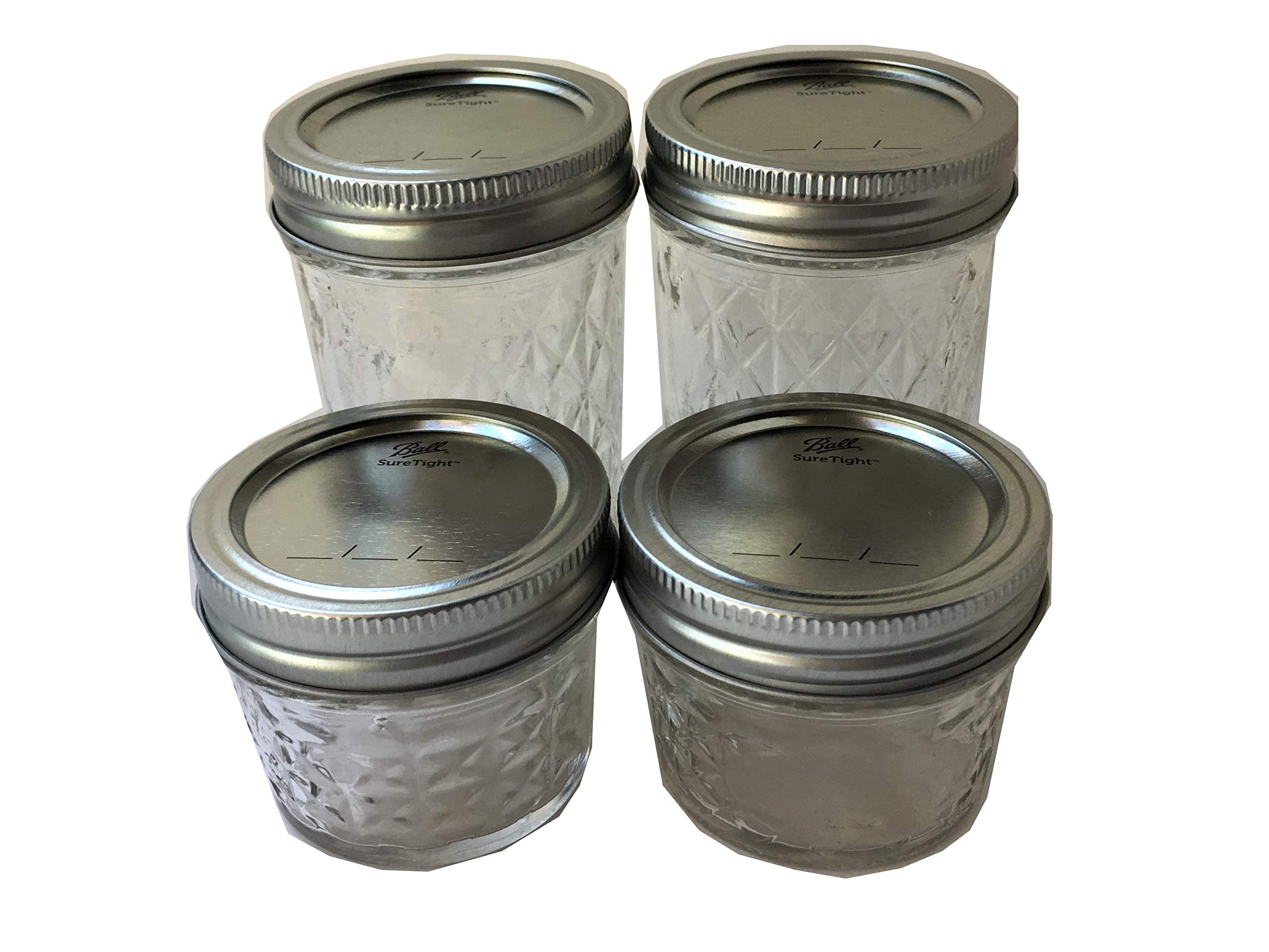 Ball Mason Jelly Jars-Two 8 oz, Two 4 oz.- Quilted Crystal Style-Set of 4