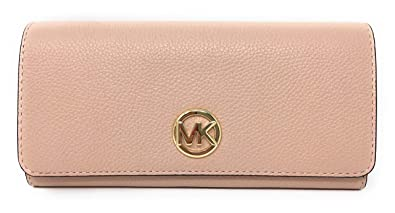 57dab463a54a Michael Kors Signature Fulton Flap Continental Leather Carryall Wallet,  Pastel Pink