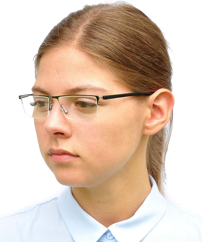 Herren Brille +1.0 Dioptrien Schwarz mit GRATIS Brillenetui Edelstahl Rahmen Leichte Metall Halbbrille Lesebrille mit rechteckigen Gl/äsern