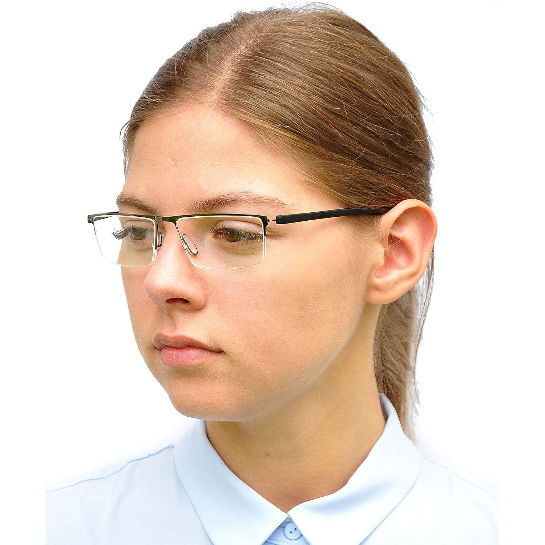 Schwarz Leichte Metall Halbbrille Lesebrille mit rechteckigen Gl/äsern mit GRATIS Brillenetui Herren Brille +1.5 Dioptrien Edelstahl Rahmen