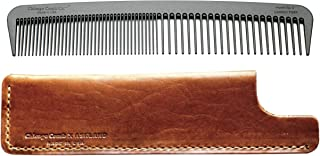 product image for Chicago Comb Model 6 Carbon Fiber Comb + English Tan Horween leather sheath, Made in USA, ultimate styling comb, for men & women, ultra smooth strong & light, anti-static, premium leather sheath