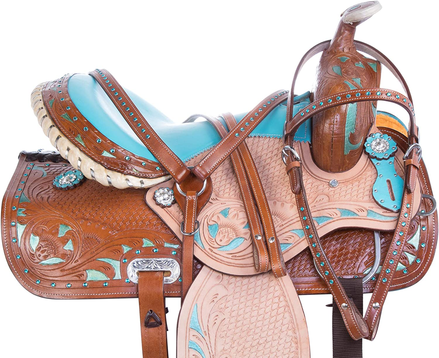 Acerugs 14 15 16 17 18 Western Blue Show Barrel Racing Crystal Racer Leather Horse Saddle Trail Pleasure & TACK Set