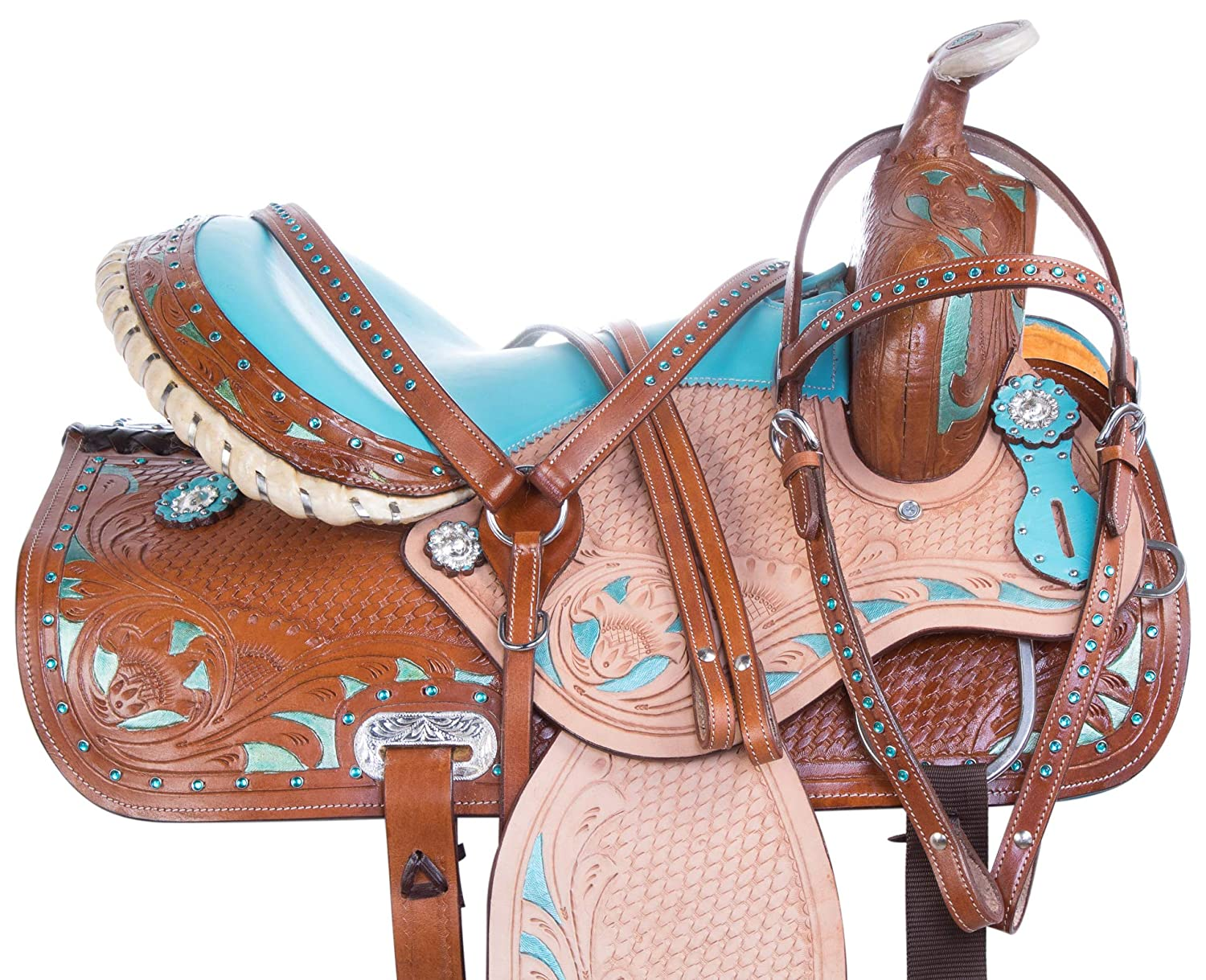 acerugsプレミアム14 15 16ターコイズブルーRough Out Western Leather Barrel Racing Rodeo Show Horseサドルタックセット 15  B07D9TKHN6