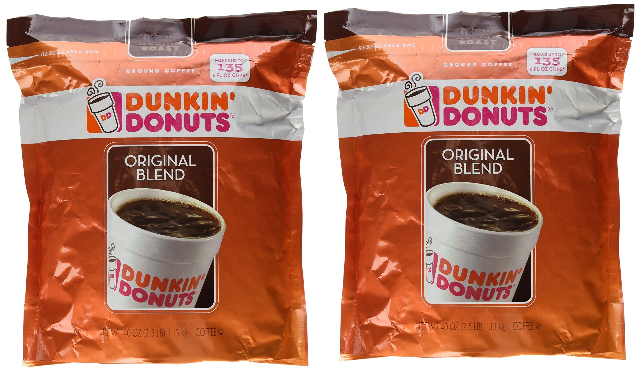 Dunkin' Donuts Original Blend Medium Roast Ground Coffee 100 % Premium Arabica Coffee 40 oz. (Pack of 2) by Dunkin' Donuts