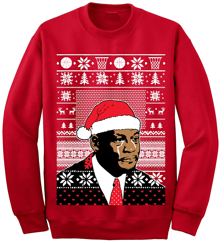 Ugly Christmas Sweater Meme.Adult Jordan Crying Meme Ugly Christmas Sweater At Amazon