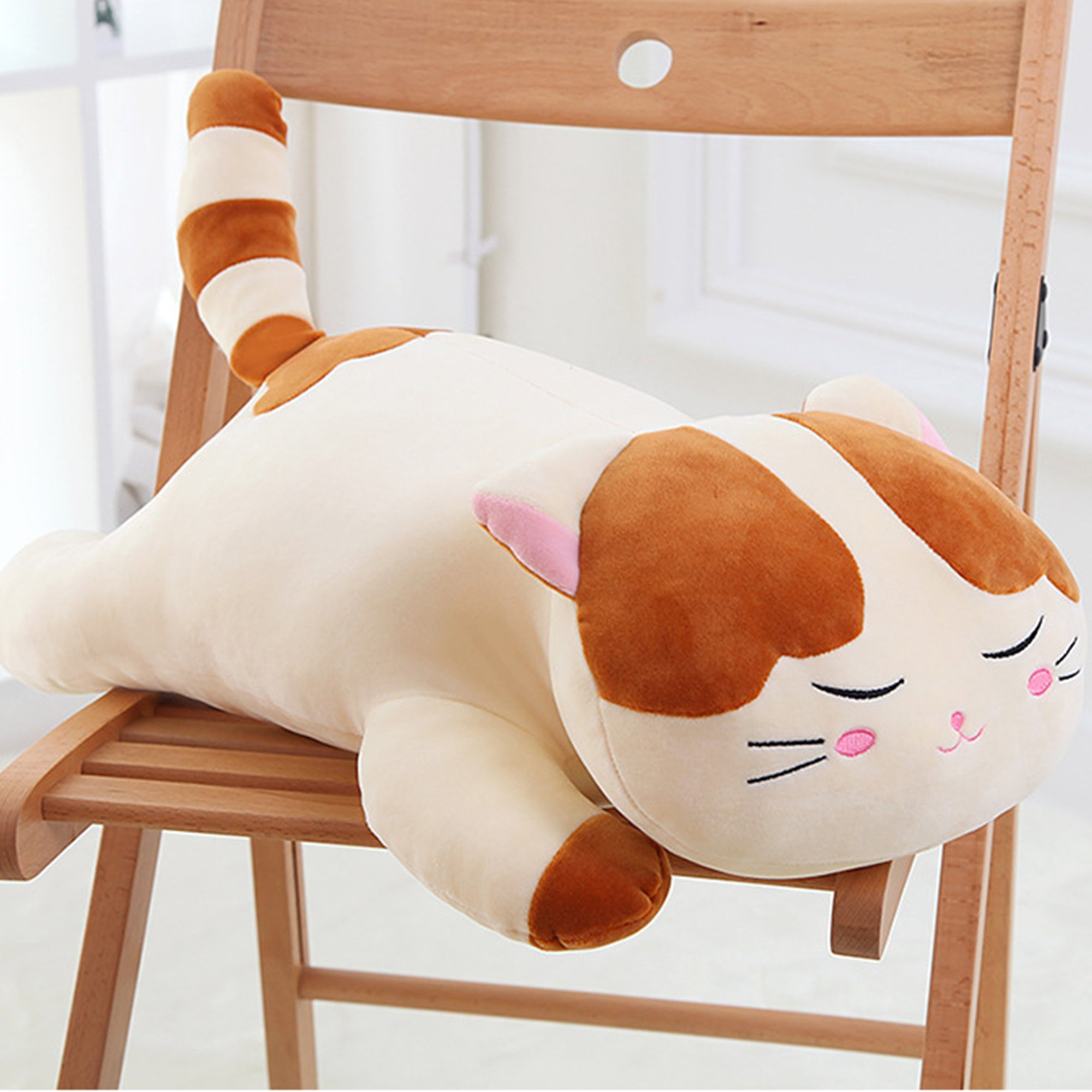 Lazada Plush Cat Stuffed Kitty Super Soft Animal Pillows for Kids Adult Toys 22'' (Brwon)