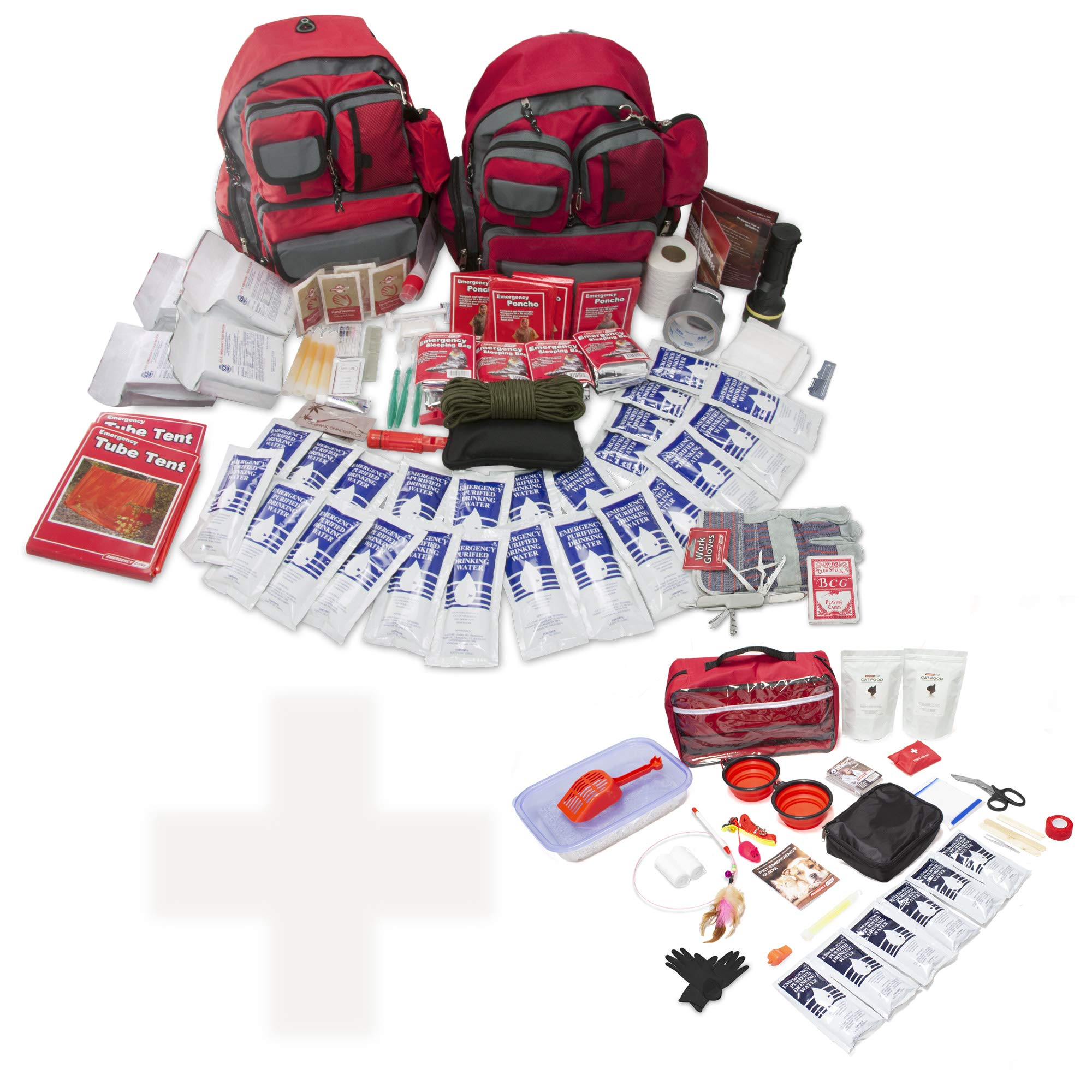 Bundle & Save | Emergency Zone 4 Person Family Prep 72 Hour Survival Kit + Basic Cat Emergency Kit | Perfect Way to Prepare Your Family | Be Ready for Disasters like Hurricanes, Earthquake, Fires