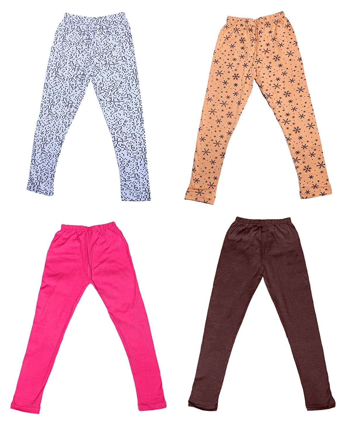 /_Multicolor/_Size-1-3 Years/_71412131921-IW-P4-22 Pack Of 4 Indistar Girls 2 Cotton Solid Legging Pants and 2 Cotton Printed Legging Pants
