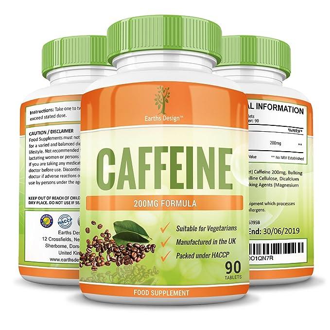 Earths Design Tabletas De Cafeína - Alta Resistencia - 200 Mg - Pastillas De Cafeína Fuertes: Amazon.es: Salud y cuidado personal