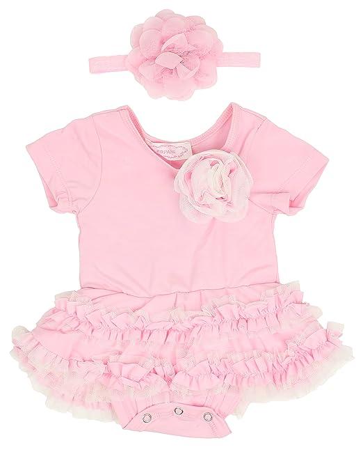 68b359da0 Popatu Baby Pink Bodysuit with Flower Headband: Amazon.ca: Clothing &  Accessories