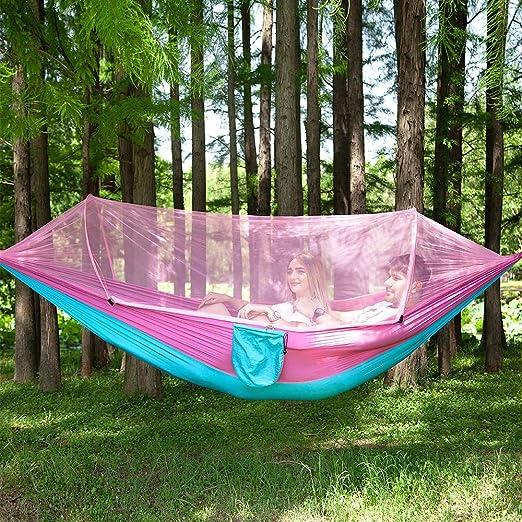 HMLIGHT Al Aire Libre Mosquitera paracaídas Hamaca Que acampa Portable Carpa Jardín Colgante Dormir de la Cama de Alta Resistencia el oscilación Que 250x120cm, 3: Amazon.es: Jardín