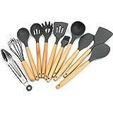 COQUO - Set 11 Piezas - Utensilios De Cocina De Silicon / Madera - Juego de la Más Alta Calidad con Cucharón, Espátulas, Broc