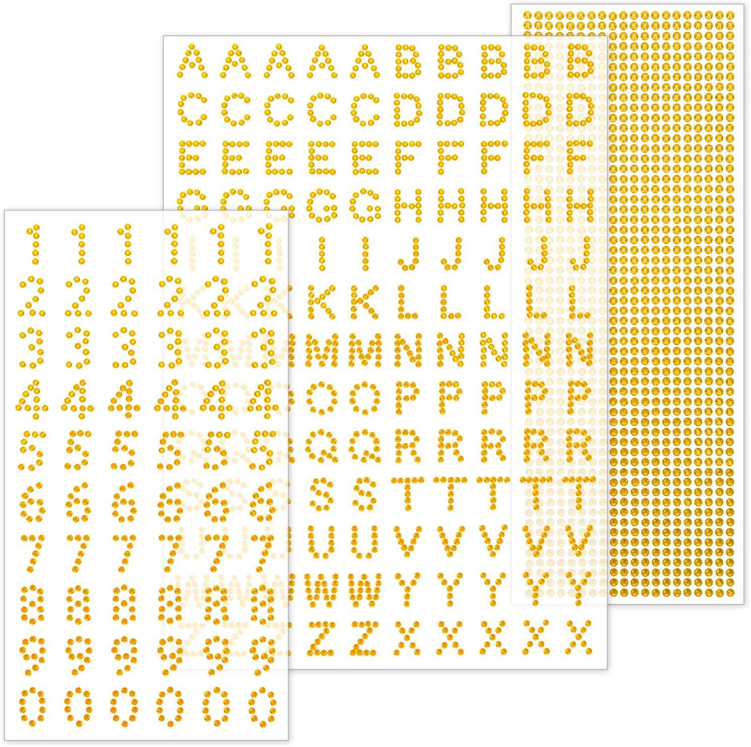 Konsait Grad Cap Decoration Set Peel and Stick Glitter Alphabet Letter Stickers and Number Sticker Gemstone Border Stickers for Graduation Cap Accessory School Leavers Book or Handicraft Art Gold