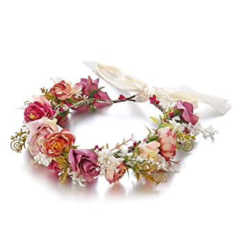 Color Blanco Flor Corona Festival Diadema guirnalda de verano de dama de honor Boda