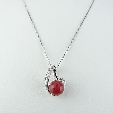 6f111125fdb4 Pt900 プラチナ 高知県産 血赤珊瑚 丸玉 7mm 珠 ペンダント ネックレス ダイヤ 0.08
