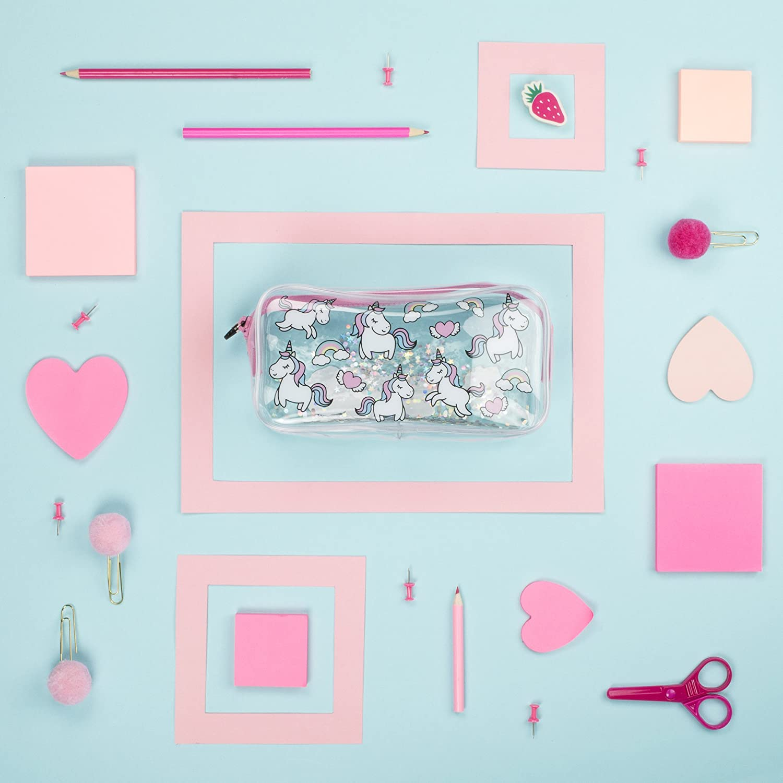 Estuche escolar Fringoo®, diseño líquido y transparente, color Unicorns & Rainbows Large: Amazon.es: Oficina y papelería