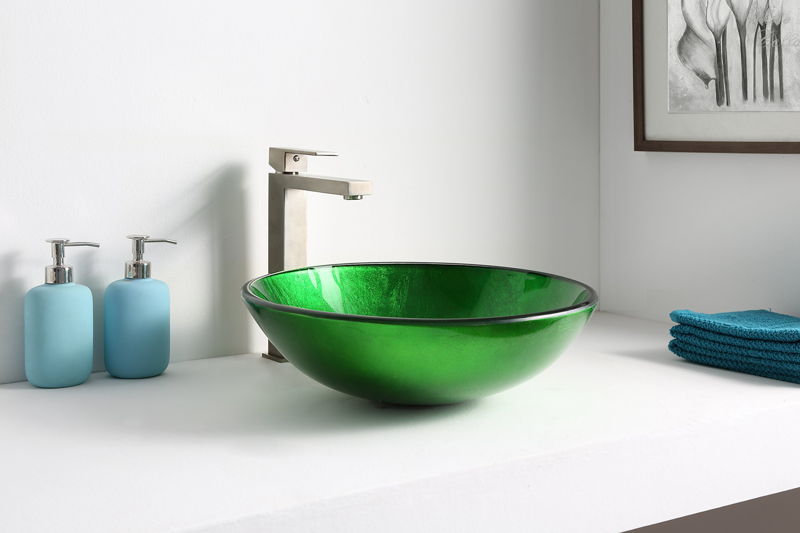 Tempered Glass Vessel Sink - Lustrous Green - Melody Series LS-AZ077 - ANZZI by ANZZI (Image #2)