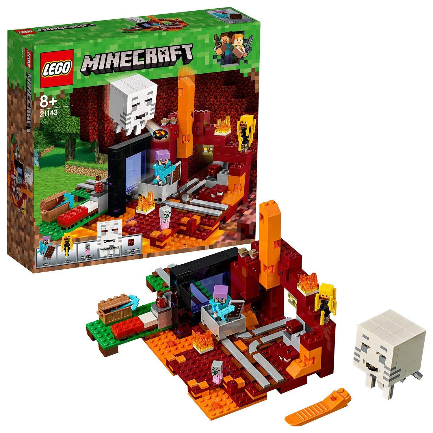 LEGO Minecraft - Portal al Infierno, Juguete de Construcción Educativo y Divertido del Videojuego para Niños y Niñas de más de 8 Años (21143)
