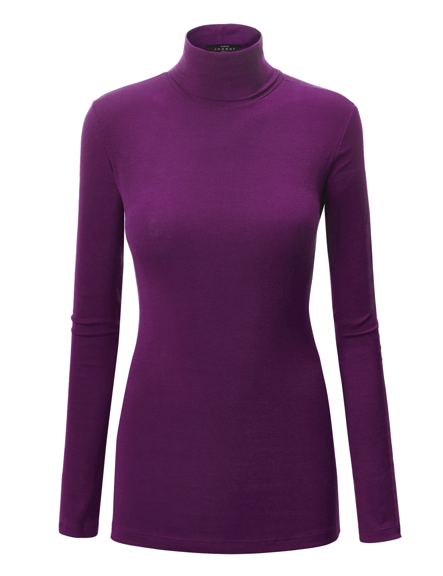WT950 Womens Long Sleeve Turtleneck Top Pullover Sweater L Purple