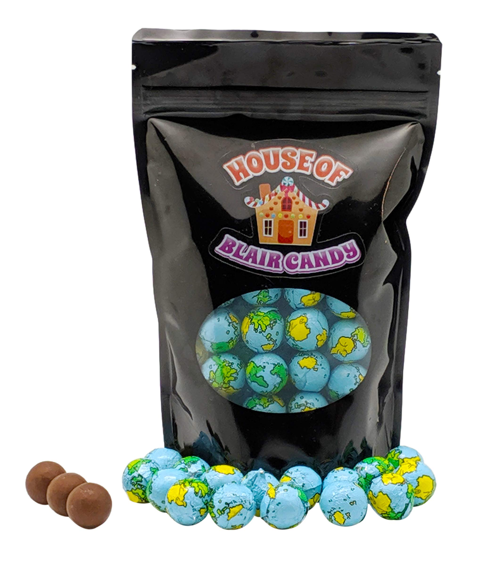 Chocolate Earth Balls - 1 LB (approximately 75-80 Pieces Per Pound) - Individually Wrapped - Sealed in Resealable Candy Bag - Decorative Bulk Filler Chocolate Candies by Blair Candy