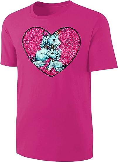 Mädchen T-Shirt Wende Pailletten Katzen Streichel Shirt Rosa