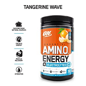 OPTIMUM NUTRITION ESSENTIAL AMINO ENERGY + Electrolytes, Tangerine Wave, Keto Friendly BCAAs, Preworkout and Essential Amino Acids, 30 Servings, 10.05 Ounce (Pack of 1)
