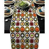 Table Runner Mid Century Modern Waves Farmhouse Geometric Sateen LP