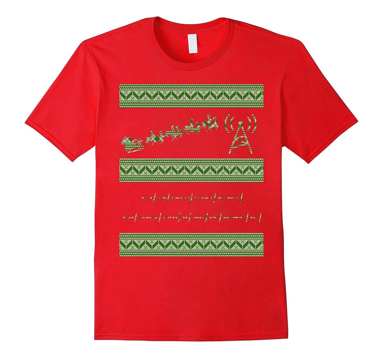 Morse Code Ugly Christmas Sweater Style Tshirt fun gift-TD