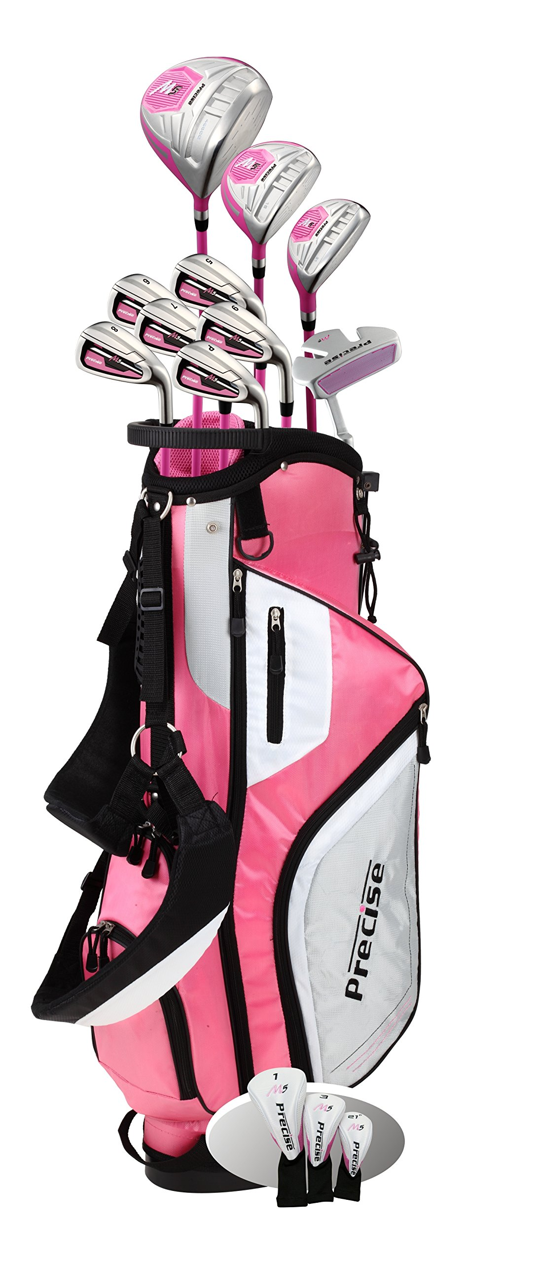 Top Line Ladies Pink Right Handed M5 Golf Club Set for Petite Ladies ( Height 5' to 5'3'' ) , Includes: Driver, Wood, Hybrid, 5,6,7,8,9, PW Stainless Irons, Putter, Graphite Shafts, Bag & 3 HCs by Precise