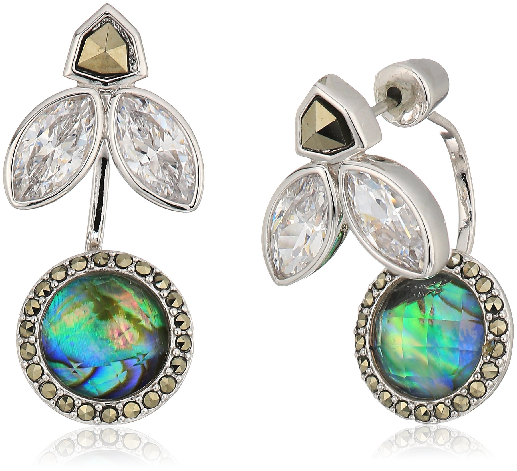 Judith Jack Sterling Silver Swarovski Marcasite and Abalone Front Back Earring Jacket