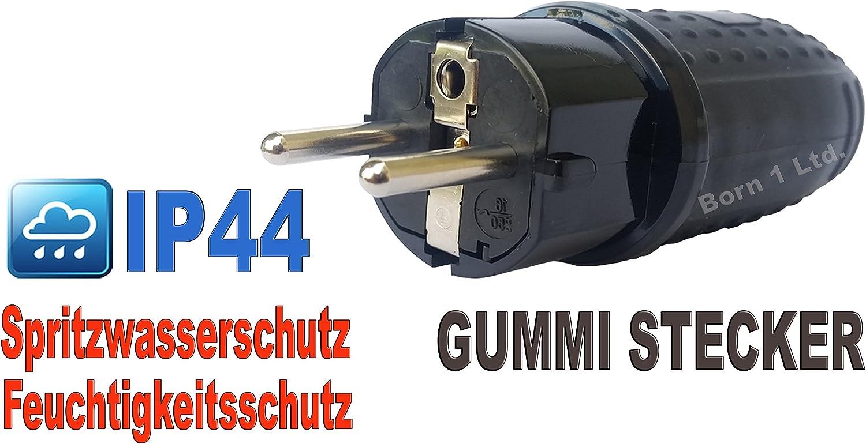 protection Contact steckdos Caoutchouc plein m/âle//femelle Schucko Fiche IP44 coupleur avec capot de protection IP44