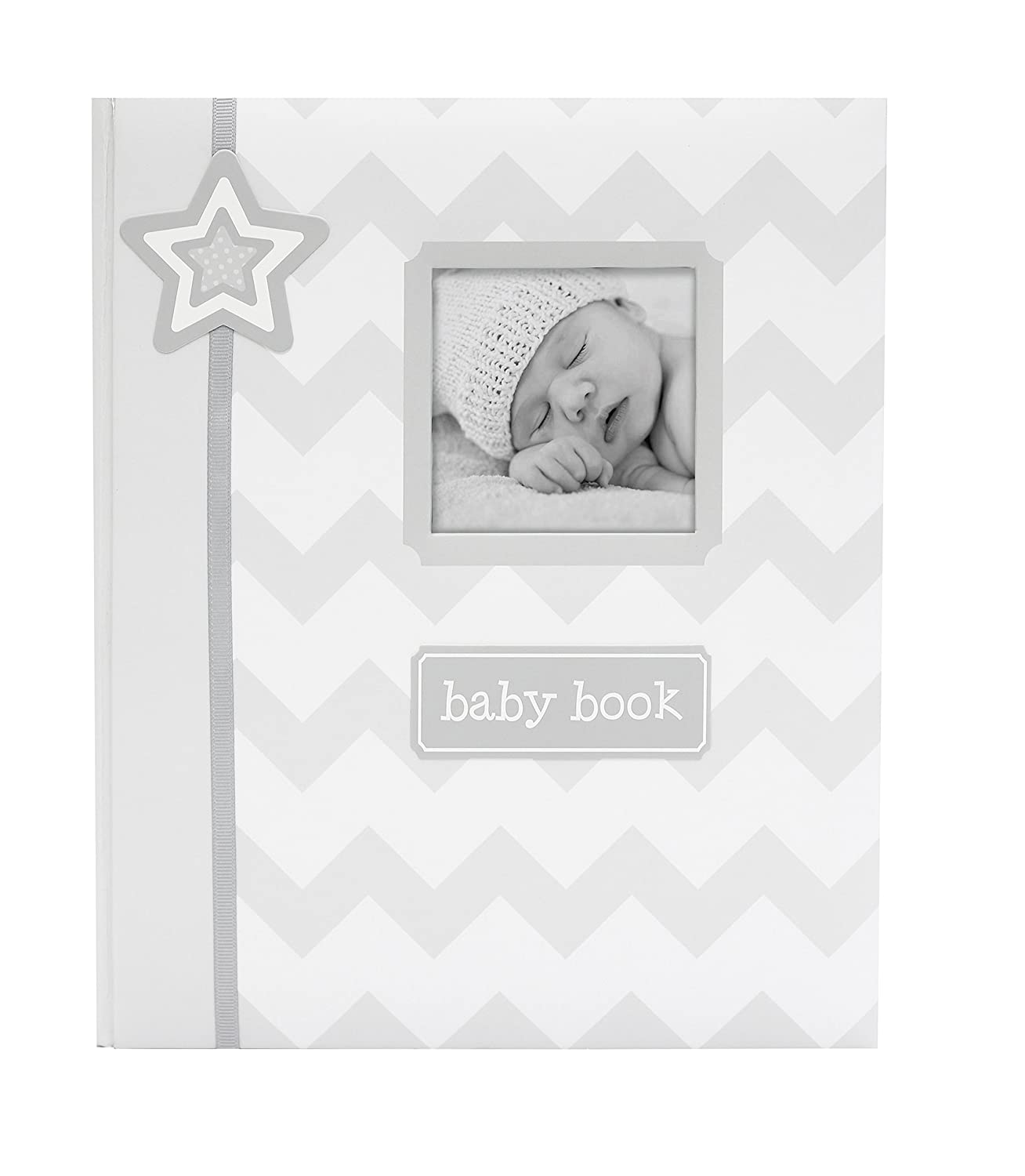 Lil' Peach Chevron Baby Memory Book, Gray Lil' Peach 93002