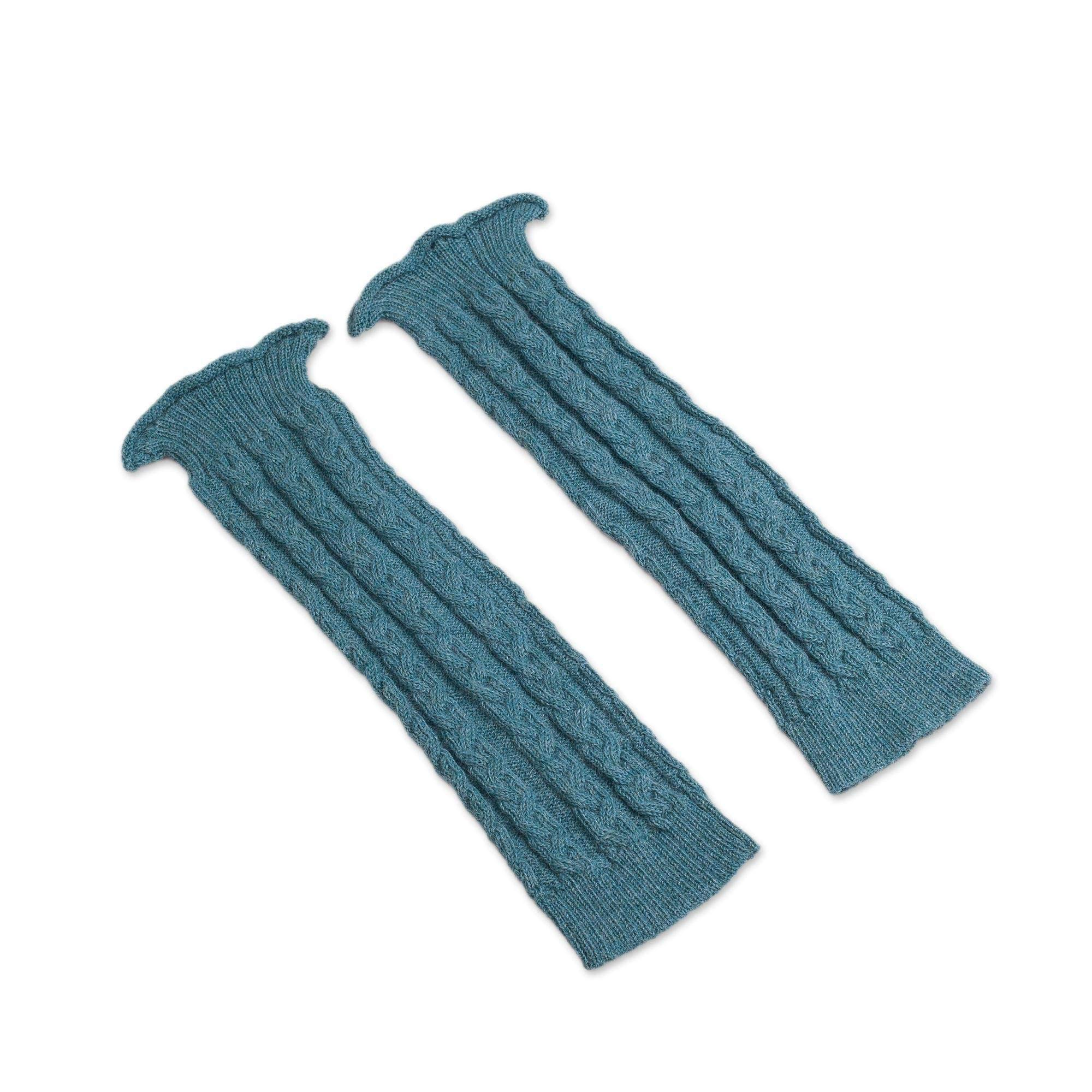 NOVICA Turquoise Blue 100% Alpaca Leg Warmers, Cozy Cables in Turquoise' by NOVICA