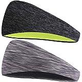 Stretch Sports Headband Moisture Wicking Sweatband 2 Pack