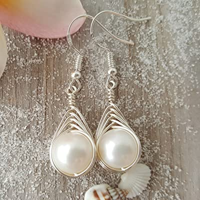 Exclusive from yinahawaii, Wire Braided Sized Round Natural Pearl Earrings,