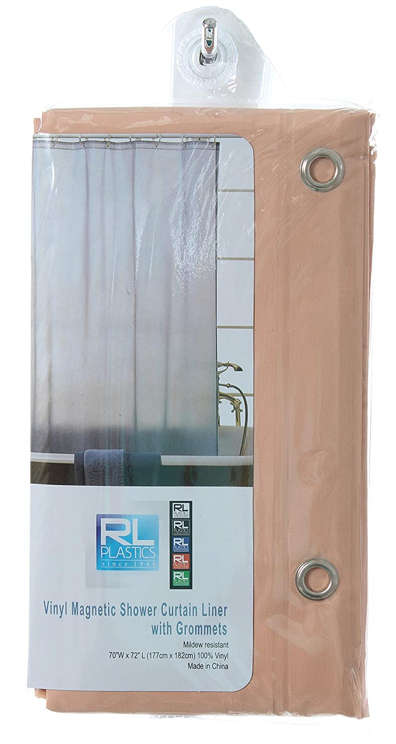 Amazon RL Plastics 100 Vinyl Peach Magnetic Shower Curtain Liner With Grommets Mildew And Water Resistant Standard Size 70 X 72 Home Kitchen