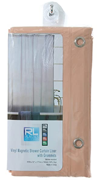 RL Plastics 100 Vinyl Peach Magnetic Shower Curtain Liner With Grommets Mildew And Water