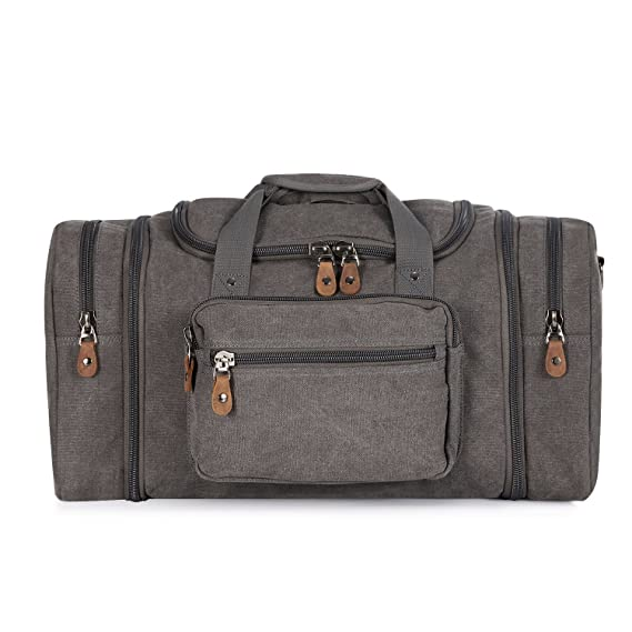 ad79d0b6864 Amazon.com | Plambag Oversized Canvas Duffle Bag 50L Tote Travel Weekend  Luggage Gym Bag Grey | Travel Duffels