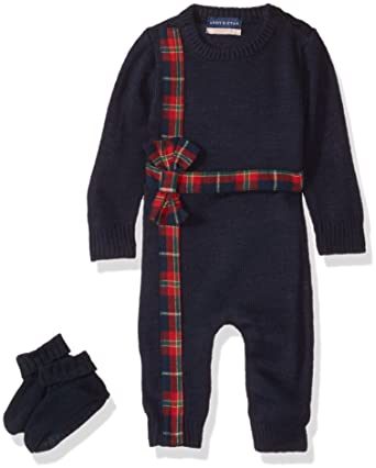 9d8d0106c1e2 Amazon.com  Andy   Evan Baby Girls  Holiday Plaid Present Romper ...