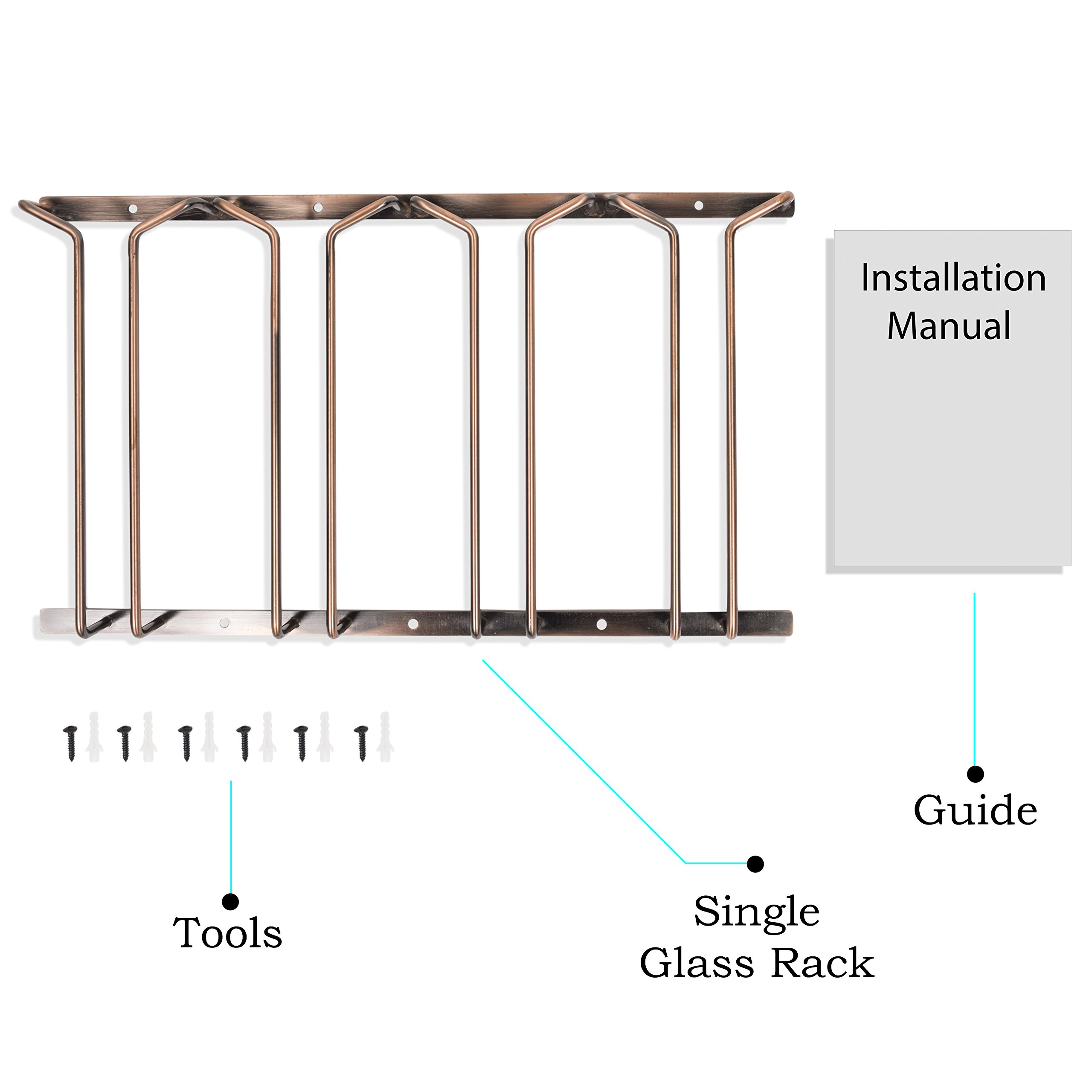 Wallniture Stemware Wine Glass Rack Holder Under Cabinet Storage Oil Rubbed Finish 10 Inch Deep by Wallniture