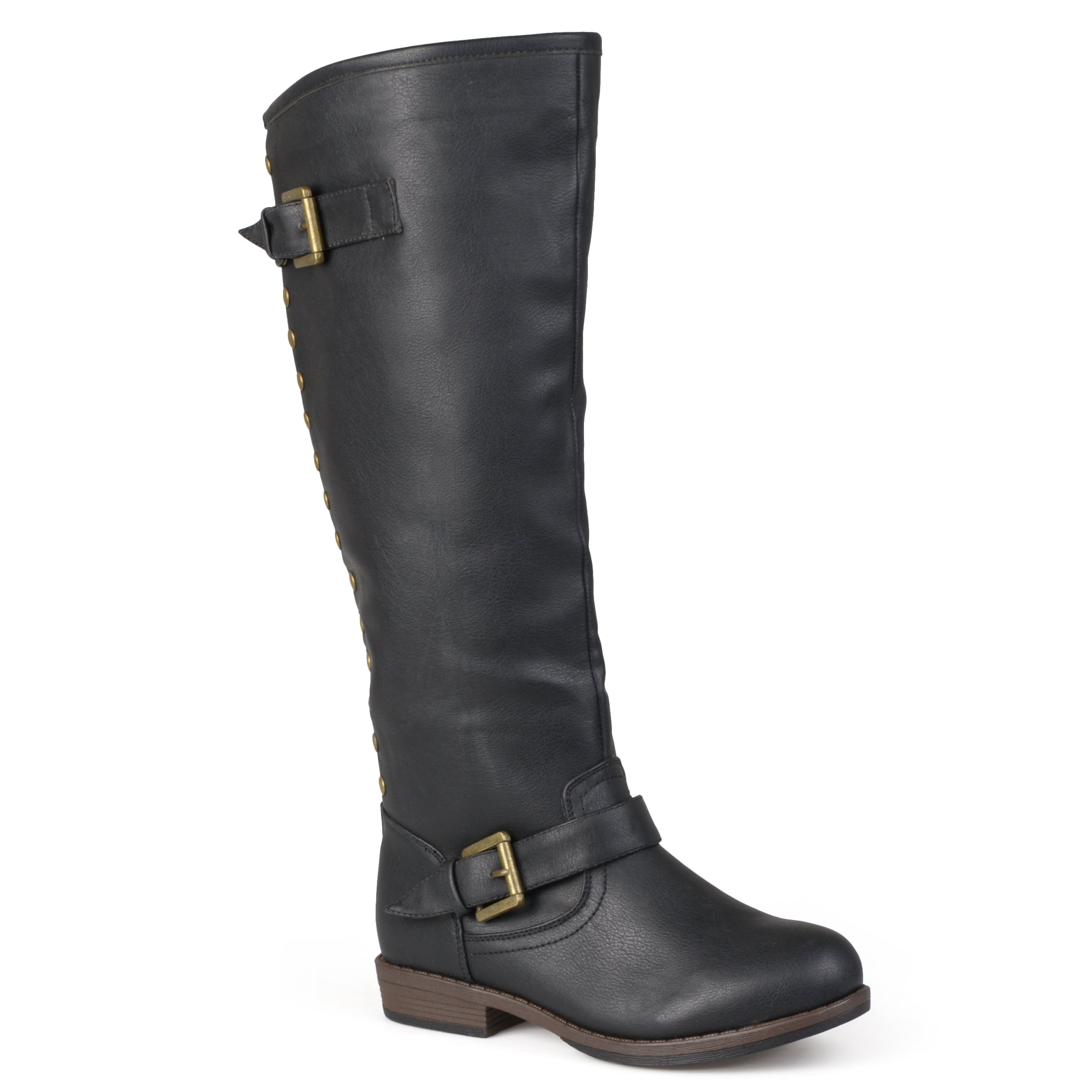 Journee Collection Womens Regular Sized Wide-Calf Studded Knee-High Riding Boots Black, 10 Regular US