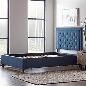 LUCID Bordered Upholstered Headboard with Diamond Tufting with LUCID Upholstered Platform Bed with Slats, King, Cobalt
