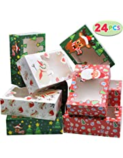 "24 PCs Christmas Foil Treats Cookie Gift Box (8.75"" x 5.75"" x 2.75"") Colorful Pattern with Window for Pastries, Cupcakes, Cookies, Brownies, Donuts Gift-Giving."